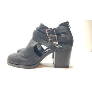 Soda Scribe Buckle Cut Out Stacked Heel Bootie 10